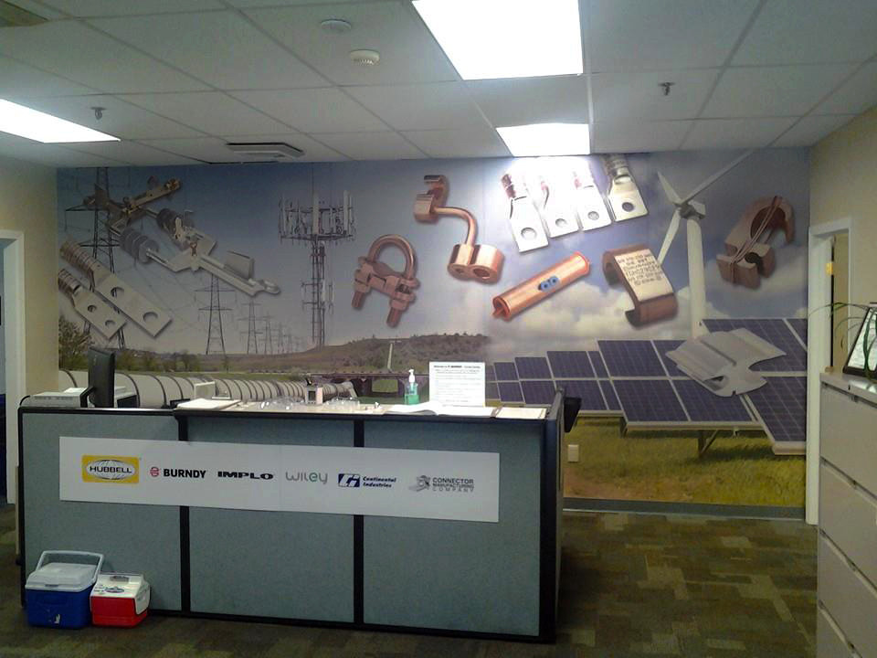Eco-friendly wall wrap and small sign for counter.