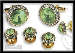 Royal Prince Crystal Cufflink Set Light Green