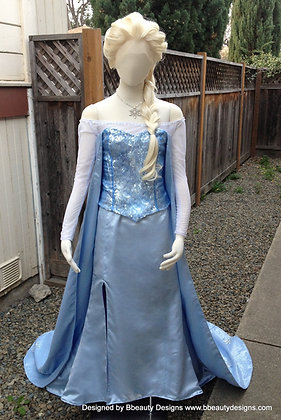 Elsa Frozen Icy Blue Silk Version E Adult Costume