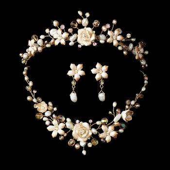Sleeping Beauty Blushing Rose Tiara & Jewelry Set