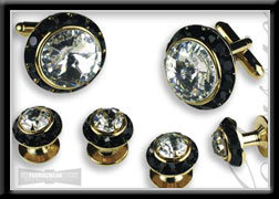 Royal Prince Crystal Cufflink Set Clear on Black