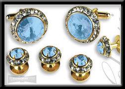 Royal Prince Crystal Cufflink Set Light Blue