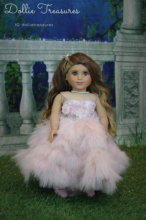 Gala Pink Blossom Feather Dress