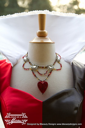Queen of Hearts Inspired Heart Necklace Choker