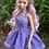 Thumbnail: Love in the Afternoon Retro Halter Dress in Lilac Micro Dot