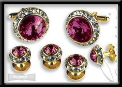 Royal Prince Crystal Cufflink Set Light Pink