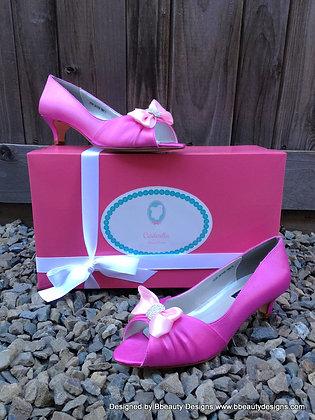 Cinderella Pink Mice Shoes Kitten Heel Peep Toe