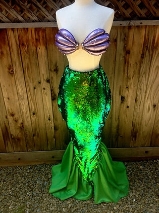 Ariel Sequin Tail and Resin Shell Bra