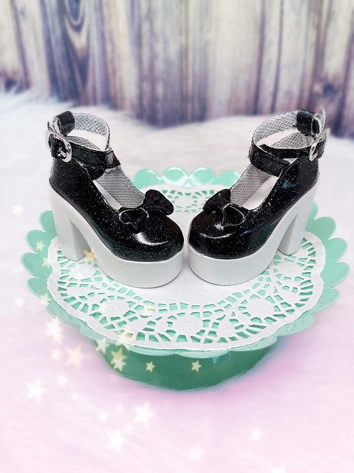 Glitter Bow Platforms in Black