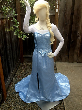 Elsa Frozen Icy Blue Silk Version F Adult Costume
