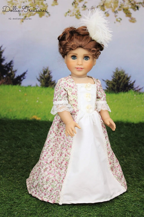 Marie Colonial Dress in Cream and Purple Posies