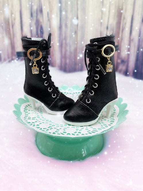Fashion Calf Bling Boots in Black
