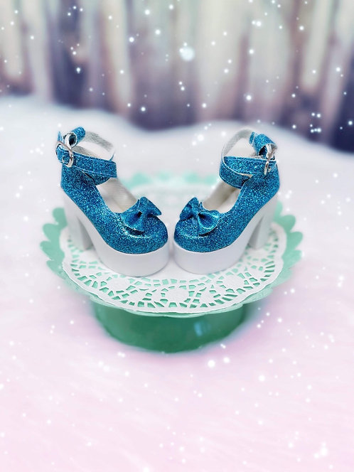 Glitter Bow Platforms in Turquoise