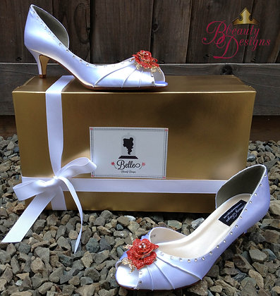 Beauty and the Beast Bridal Ivory Kitten Heels