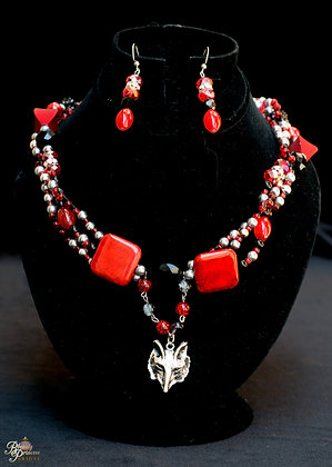 Red Riding Hood Couture Necklace & Earrings