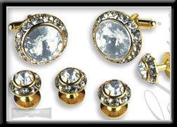 Royal Prince Crystal Cufflink & Stud Set Clear