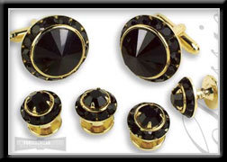 Royal Prince Crystal Cufflink Set Black on Black