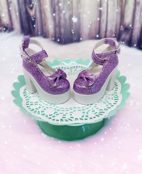 Glitter Bow Platforms in Lilac
