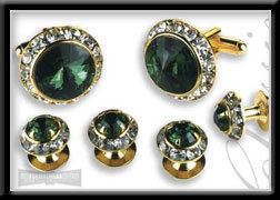 Royal Prince Crystal Cufflink & Stud Set Emerald