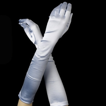 Satin Gloves - Pastel Blue