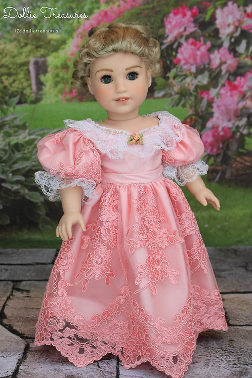 1830's Romantic Era Historical Gown in Coral