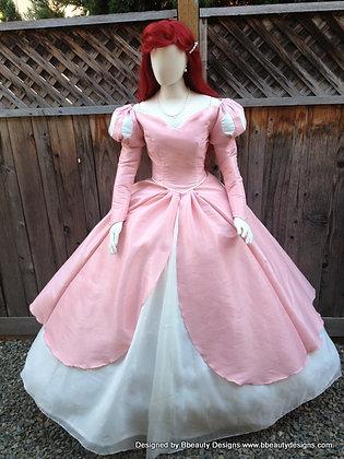 Ariel Romantic Pink Dinner Dress Adult Costume