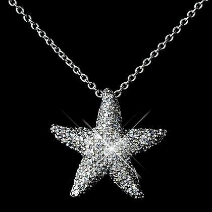 Ariel CZ Little Mermaid Starfish Necklace