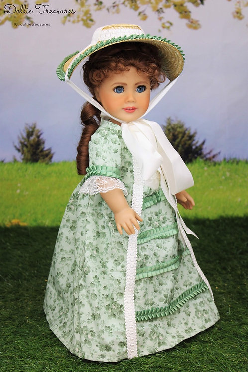 Marie Colonial Dress in Sage and Cream Floral with Hat