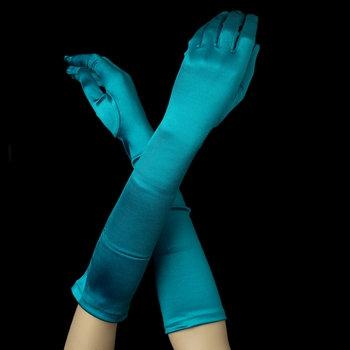 Satin Gloves - Teal Green