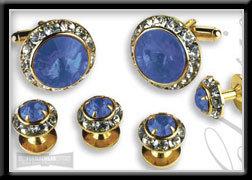 Royal Prince Crystal Cufflink & Stud Set Sapphire