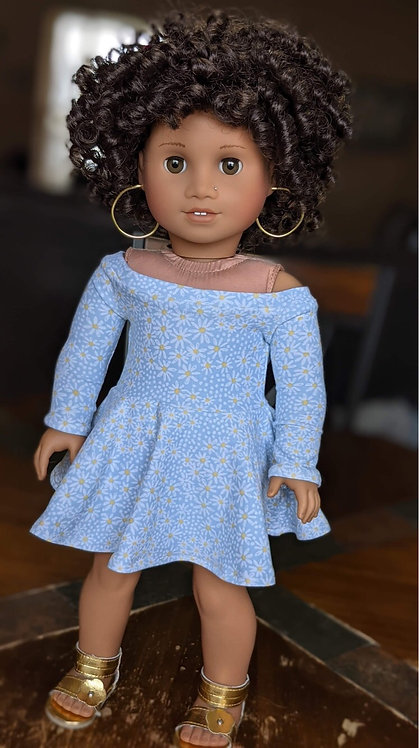 """Breeze"" off the Shoulder Dress in Dainty Daisy"