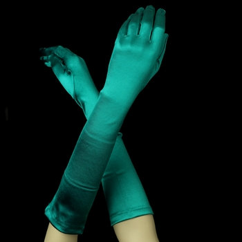 Satin Gloves - Green
