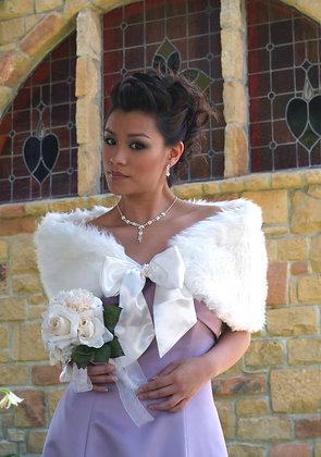 Faux Fur Bridal Wrap with Short Bow