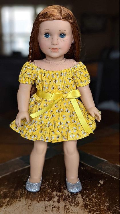 """Joy"" Peasant Ruffle Dress in Spring Bee"