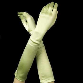 Satin Gloves - Lime