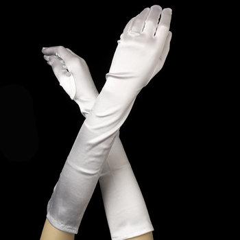 Satin Gloves - White
