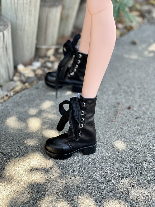 Combat Biker Boots in Black