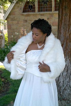 Faux Fur Bridal Coat Lined in Satin