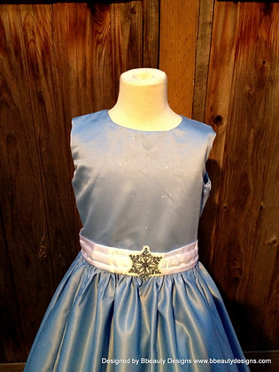 Frozen Elsa Snowflake Girls Dress & Feather Bolero