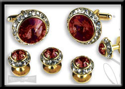 Royal Prince Crystal Cufflink & Stud Set Ruby