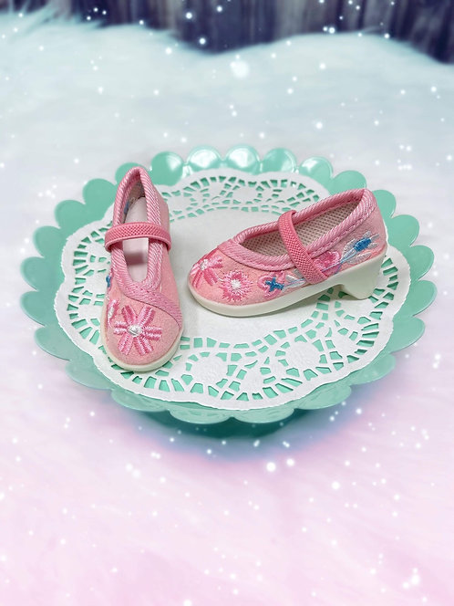 Embroidered Canvas Heels in Candy Pink