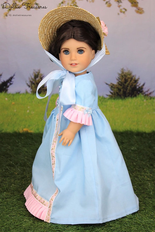 Marie Colonial Dress in Baby Blue & Pink with Hat