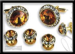 Royal Prince Crystal Cufflink & Stud Set Topaz