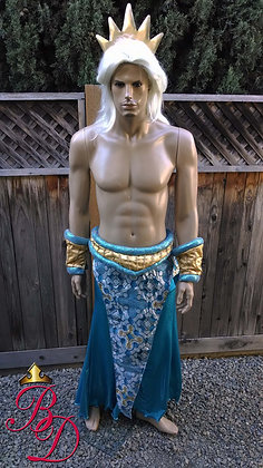 King Triton Ariel's Father Merman Costume