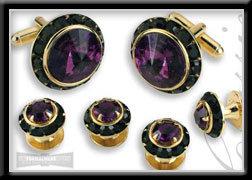 Royal Prince Crystal Cufflink Set Amethyst Black