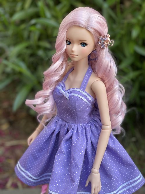 Love in the Afternoon Retro Halter Dress in Lilac Micro Dot