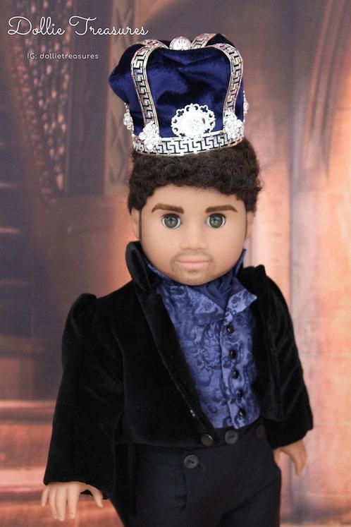 Doll Crown - Blue Velvet Jeweled King Crown Full Size