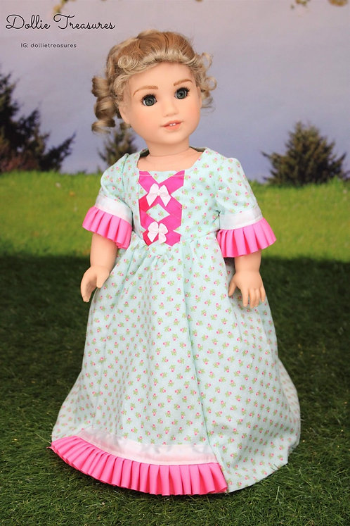 Marie Colonial Dress in Pink and Aqua Floral