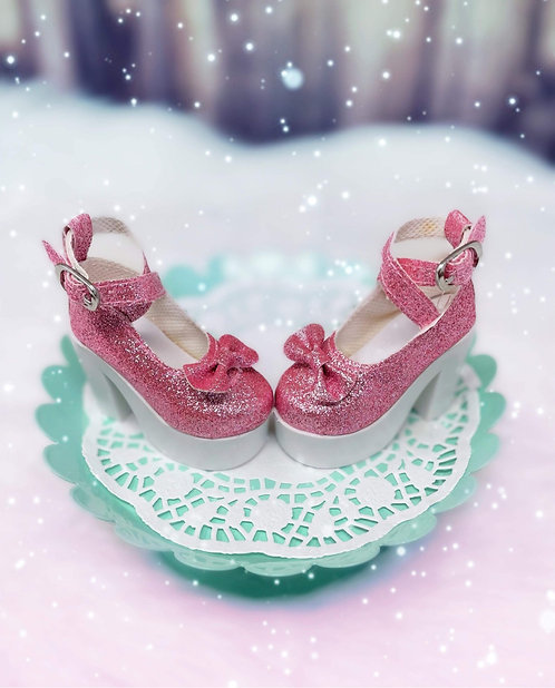 Glitter Bow Platforms in Candy Pink