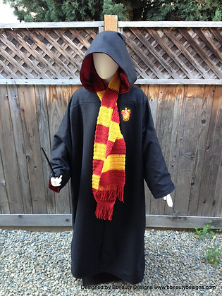 Harry Potter Wool Satin Griffindor Robe and Scarf